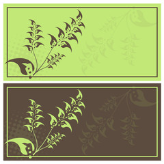 Pair of floral invitation cards