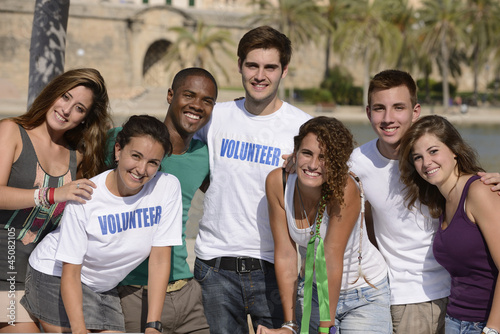 happy and diverse volunteer group