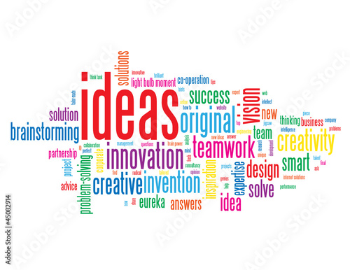 """IDEAS"" Tag Cloud (innovation solutions problem solving smart)"