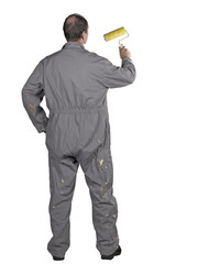 Painter man in uniform with paint roller Isolated over white bac