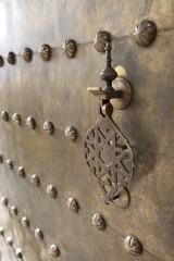 Metal doorknocker on brass door