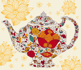 Fototapety Vector template with teapot