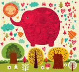 Vector illustration with elephant