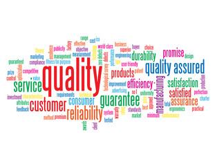 """QUALITY"" Tag Cloud (reliability customer service satisfaction)"