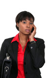 Young Afro-American woman on phone