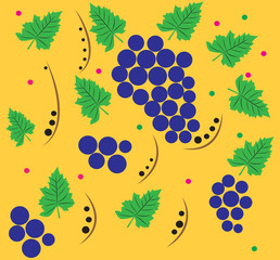 The pattern of grapes on a gold background.