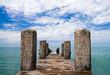 Concrete pier with columns on Black Sea