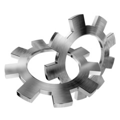 3d shinygears on white background
