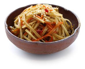 kinpira gobo, sauteed burdock root and carrot, japanese cuisine