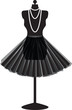 black mannequin with skirt