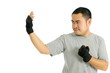 Man protect in body combat