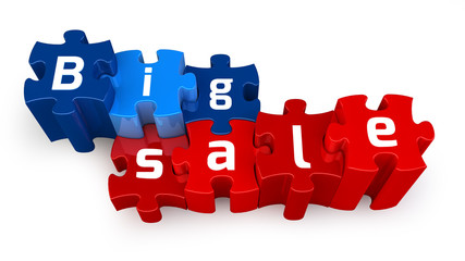 Word Big Sale puzzle letter, isolated on white background