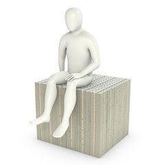 Abstract white man sits on pack of dollars