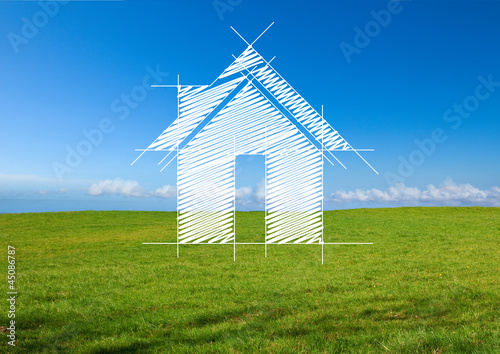 Paysage de campagne et maison
