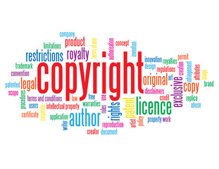"""COPYRIGHT"" Tag Cloud (intellectual property author patent art)"
