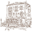 Venice - Grand Canal. Ancient building & gondola. Vector sketch