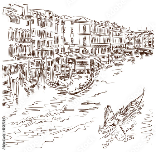 Venice - Grand Canal. The view from the Rialto Bridge. Vector sk