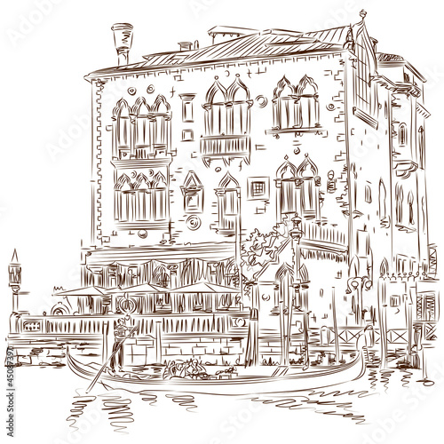 Venice - Grand Canal. Ancient building & gondola. Vector sketch