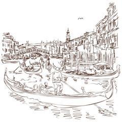 Venice - Grand Canal. View of the Rialto Bridge. Vector sketch