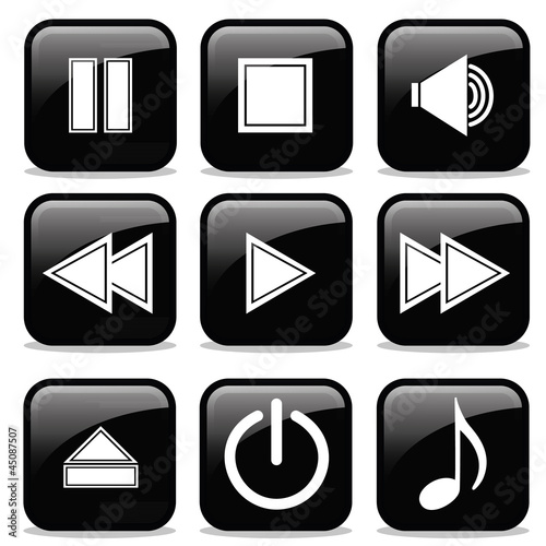 Collection of Media Player glossy buttons