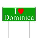 I love Dominica, concept road sign
