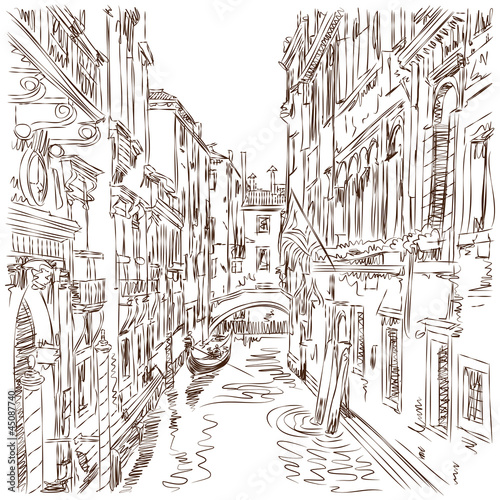 Venice - water channel, old buildings & gondola away. Vector ske