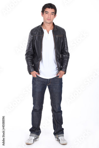 Man posing in leather jacket