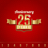 Decorative golden emblem of anniversary - vector illustration