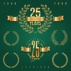 Anniversary golden emblems and decorative elements