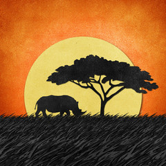 Rhino recycled paper craft background