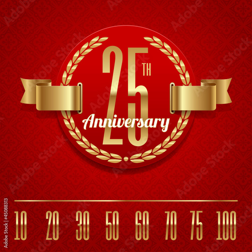Decorative anniversary golden emblem - vector illustration