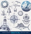 Nautical hand drawn vector set - 45088553
