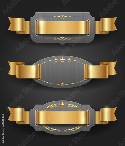 Ornate metal frames with golden decor and ribbons