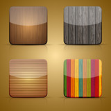 Fototapety Vector wooden app icon set on brown background. Eps 10