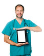 doctor holding blank tablet