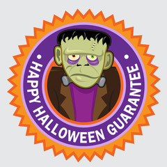 Happy Halloween Guarantee Frankenstein seal / stciker