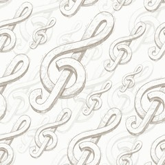 Vector seamless background with hand drawn treble clef