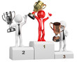 3D businessman white people. Winner on podium