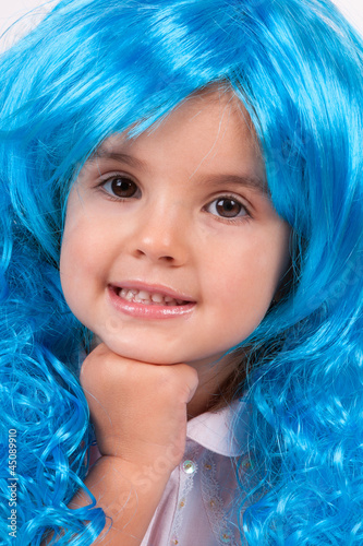 Pretty little girl with long blue hair