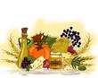 Obst und Gemüse, vegetarisches Menü