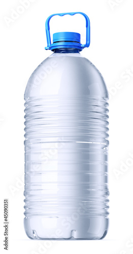 Gallon plastic bottles with water. Isolatedon white.