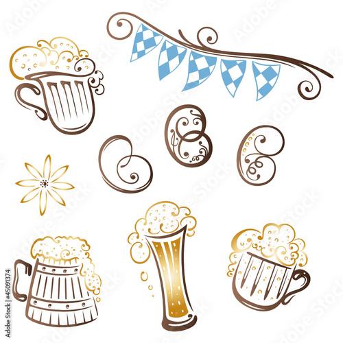 Oktoberfest, Bier, Bierglas, Bayern, vector set
