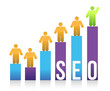 People and colorful seo graph illustration