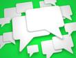 Blank Speech Bubble on Green Background.