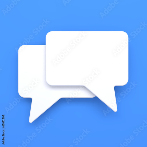 Blank Speech Bubble on Blue Background.
