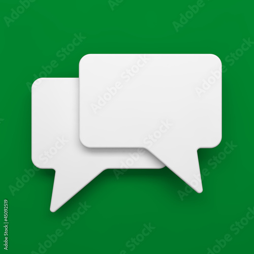 Blank Speech Bubble on Green Background.