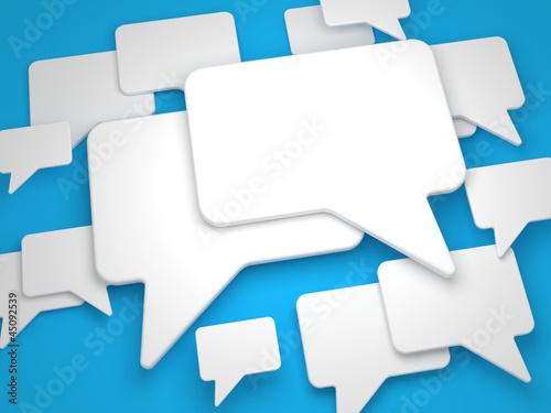 Blank Speech Bubble on Blue Background.