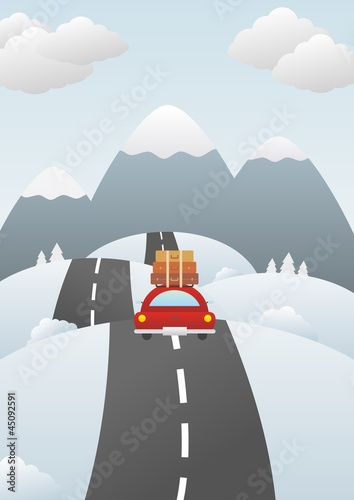 Winter landscape with car on the road