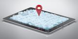 Tablet computer city hologram GPS poster
