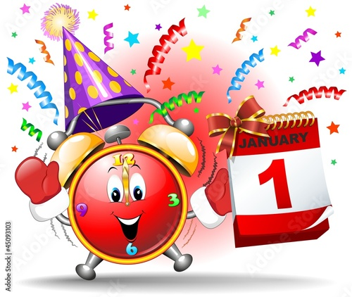 Happy New Year Party Cartoon Clock-Sveglia Festa Capodanno